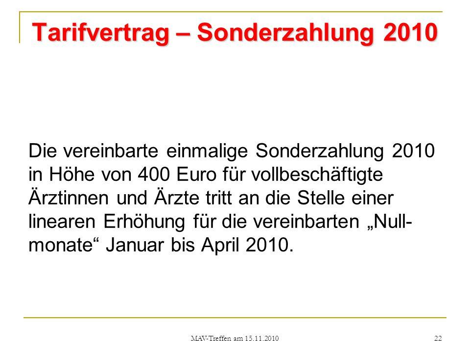Tarifvertrag – Sonderzahlung 2010