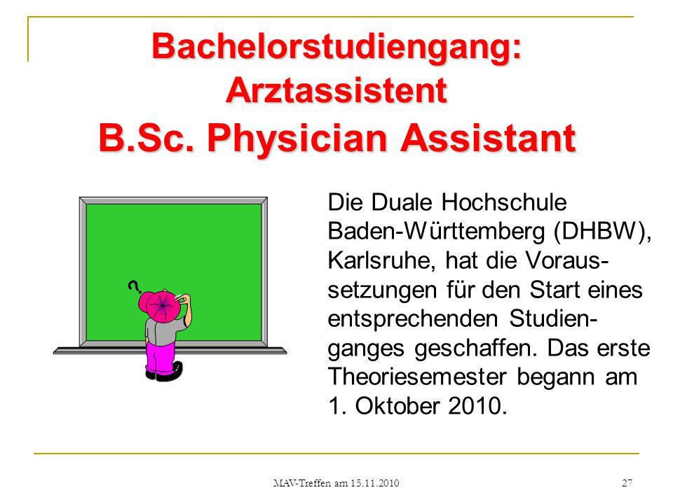 Bachelorstudiengang: Arztassistent B.Sc. Physician Assistant