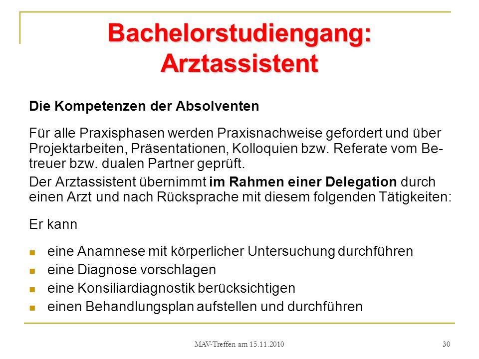 Bachelorstudiengang: Arztassistent