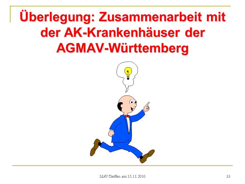 Überlegung: Zusammenarbeit mit der AK-Krankenhäuser der AGMAV-Württemberg
