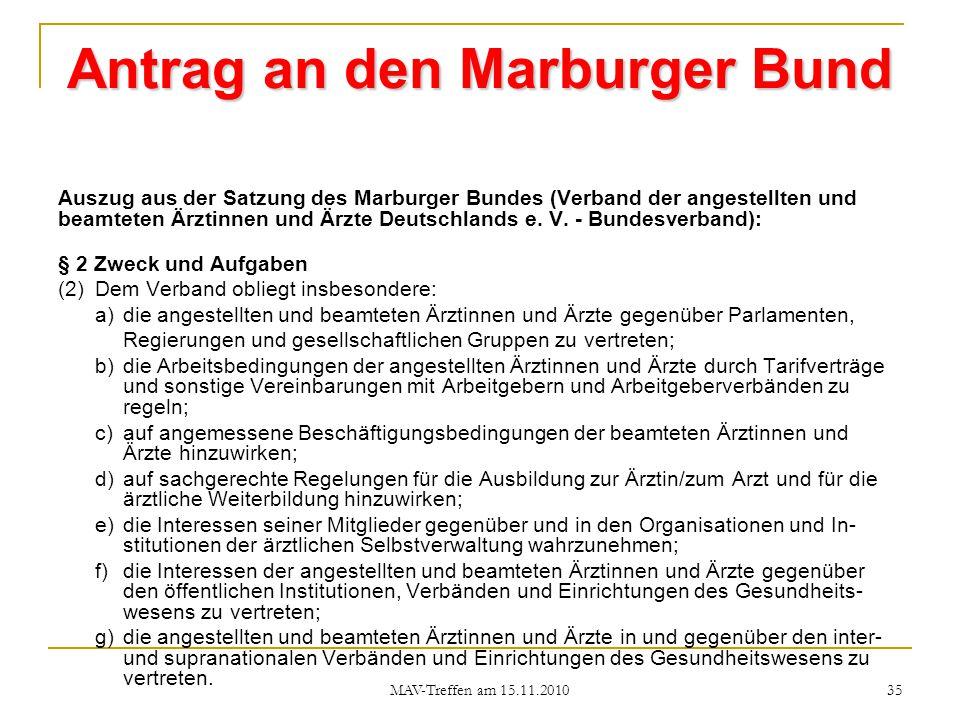 Antrag an den Marburger Bund