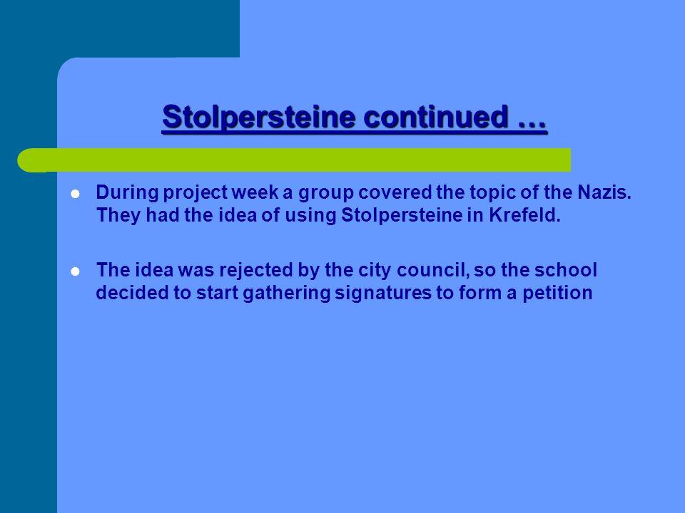 Stolpersteine continued …