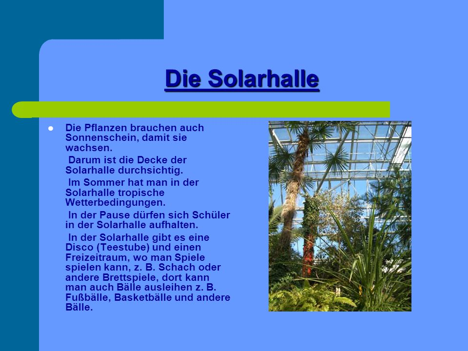 Die Solarhalle Die Pflanzen brauchen auch Sonnenschein, damit sie wachsen. Darum ist die Decke der Solarhalle durchsichtig.