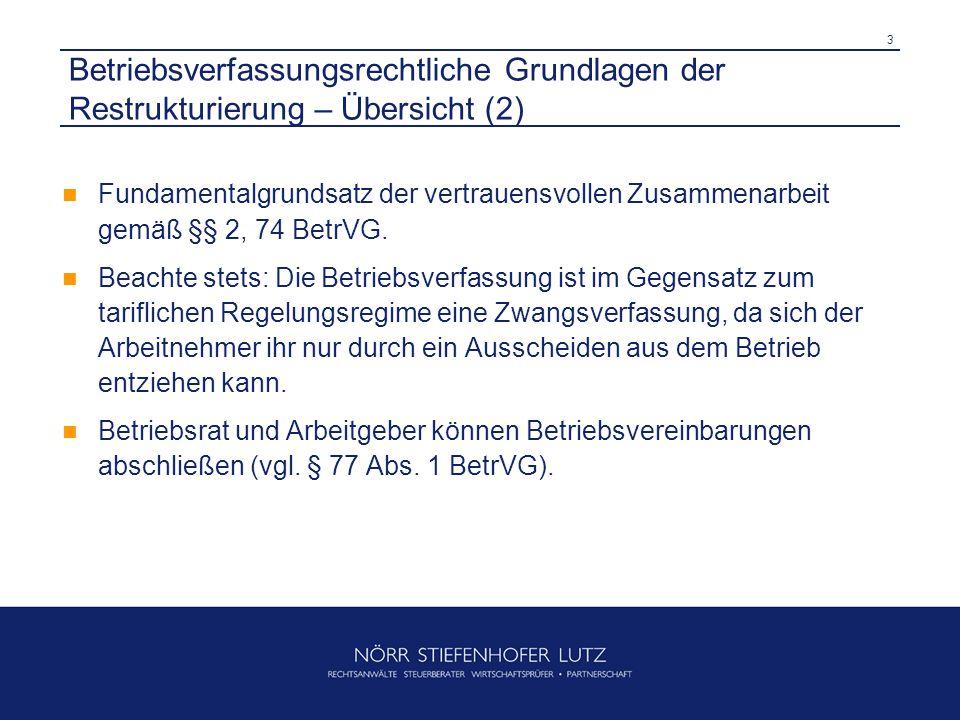 Betriebsverfassungsrechtliche Grundlagen der Restrukturierung – Übersicht (2)