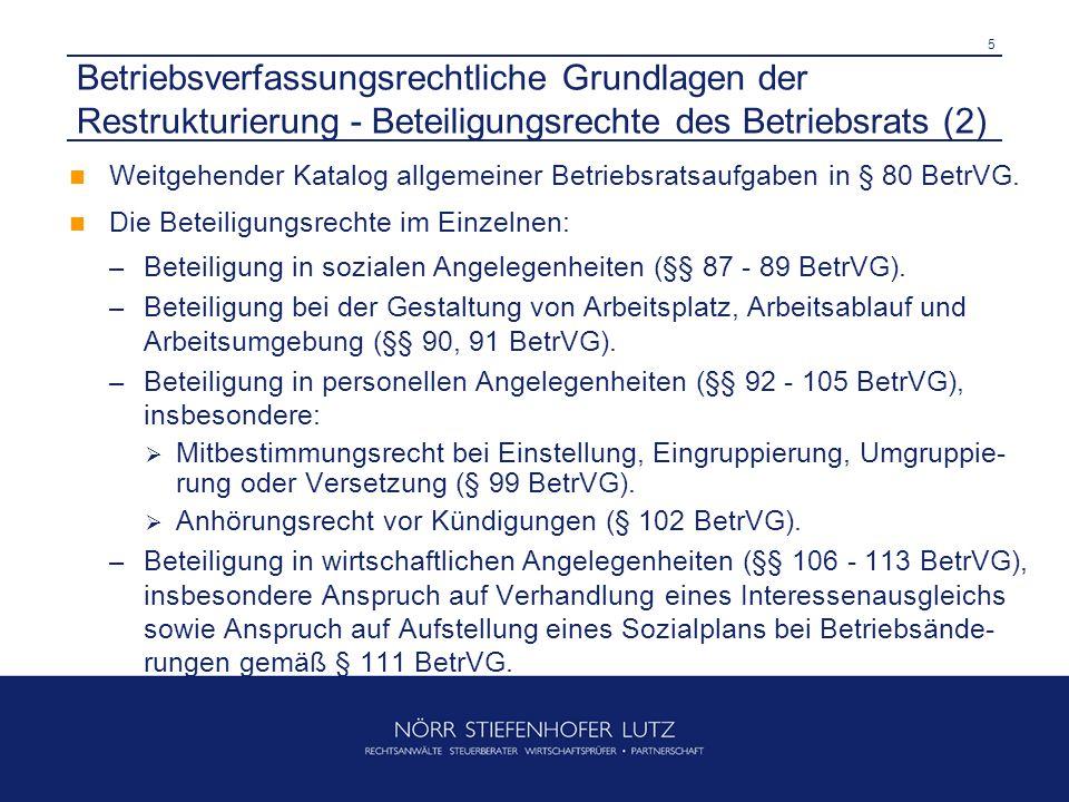 Betriebsverfassungsrechtliche Grundlagen der Restrukturierung - Beteiligungsrechte des Betriebsrats (2)