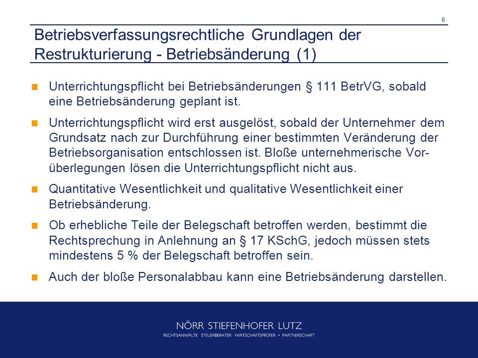 Betriebsverfassungsrechtliche Grundlagen der Restrukturierung - Betriebsänderung (1)