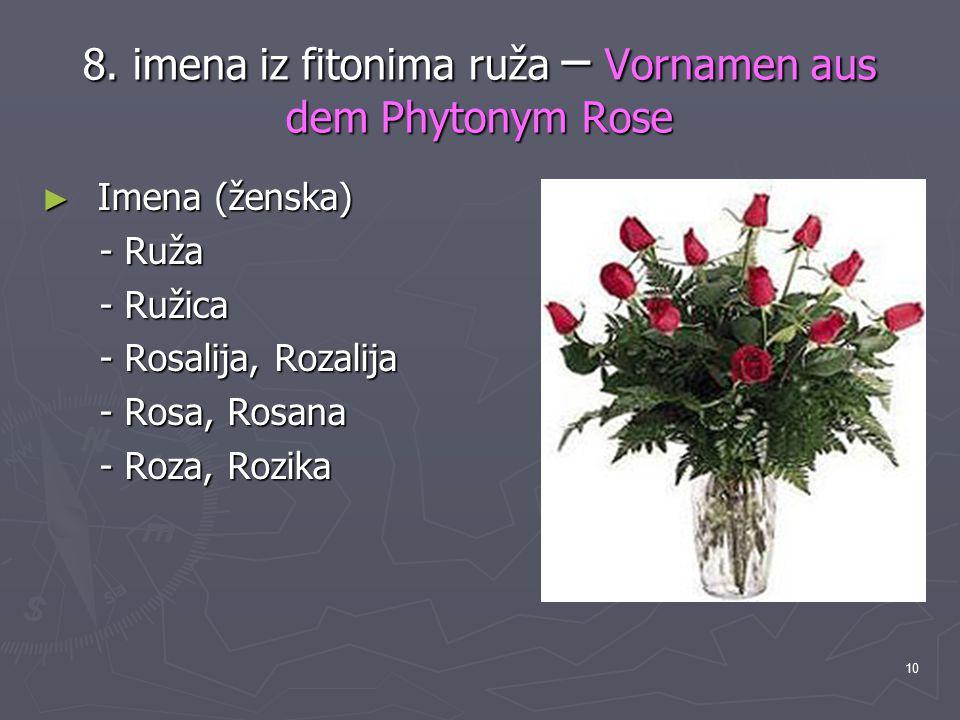 8. imena iz fitonima ruža – Vornamen aus dem Phytonym Rose