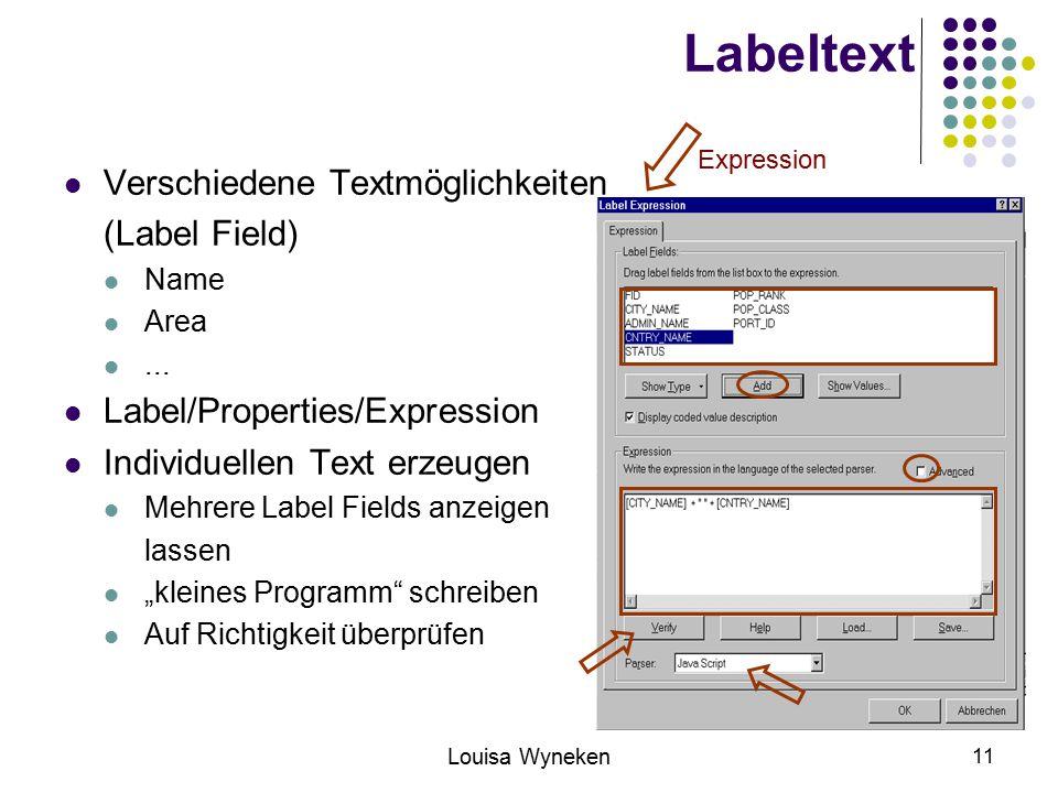 Labeltext Verschiedene Textmöglichkeiten (Label Field)