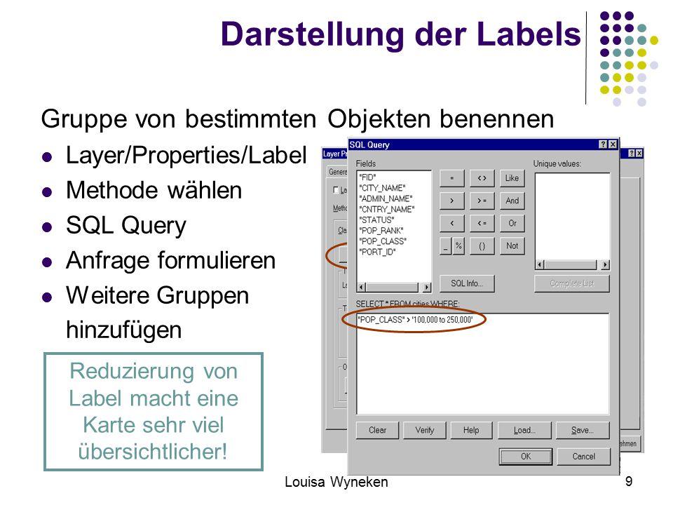 Darstellung der Labels