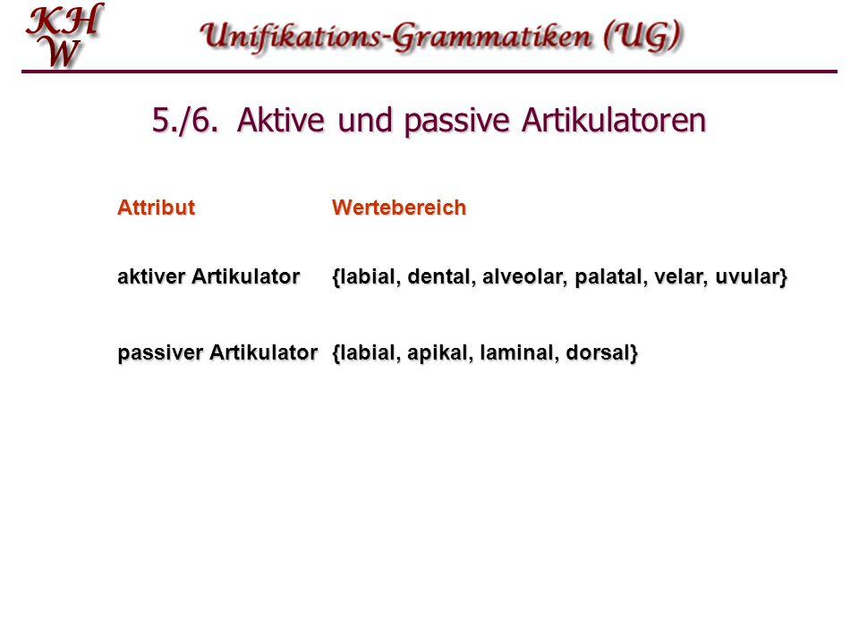 5./6. Aktive und passive Artikulatoren