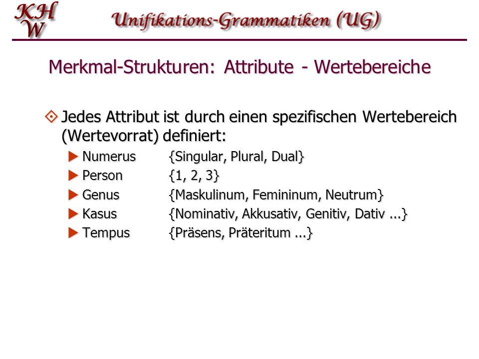 Merkmal-Strukturen: Attribute - Wertebereiche