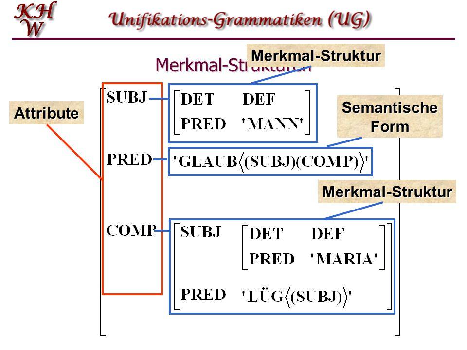 Merkmal-Strukturen Merkmal-Struktur Semantische Form Attribute