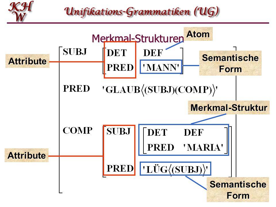 Merkmal-Strukturen Atom Semantische Form Attribute Merkmal-Struktur