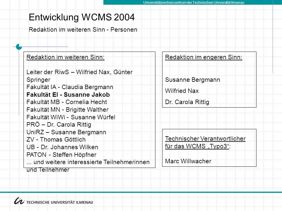 Entwicklung WCMS 2004 Redaktion im weiteren Sinn - Personen