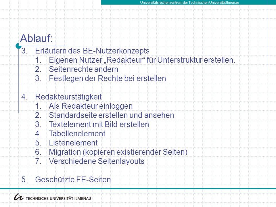 Ablauf: Erläutern des BE-Nutzerkonzepts