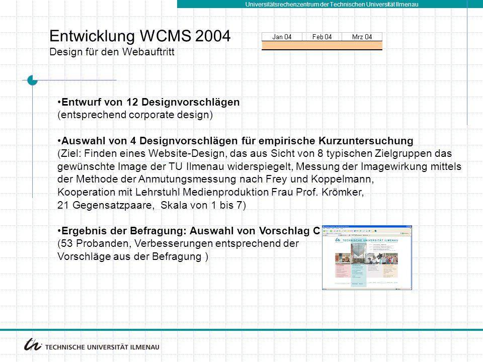 Entwicklung WCMS 2004 Design für den Webauftritt