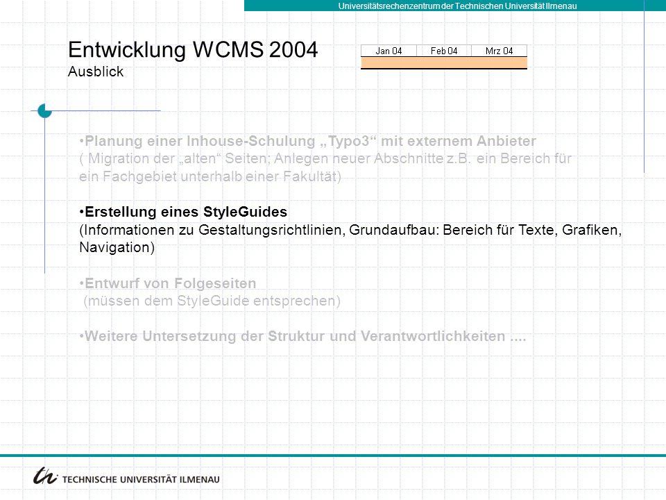 Entwicklung WCMS 2004 Ausblick
