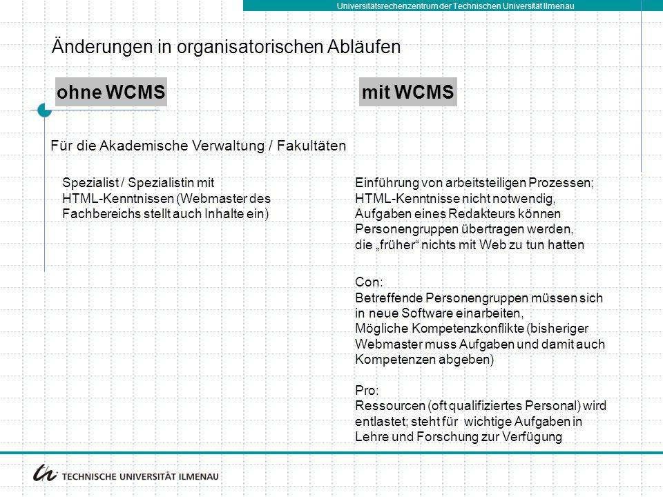 Änderungen in organisatorischen Abläufen