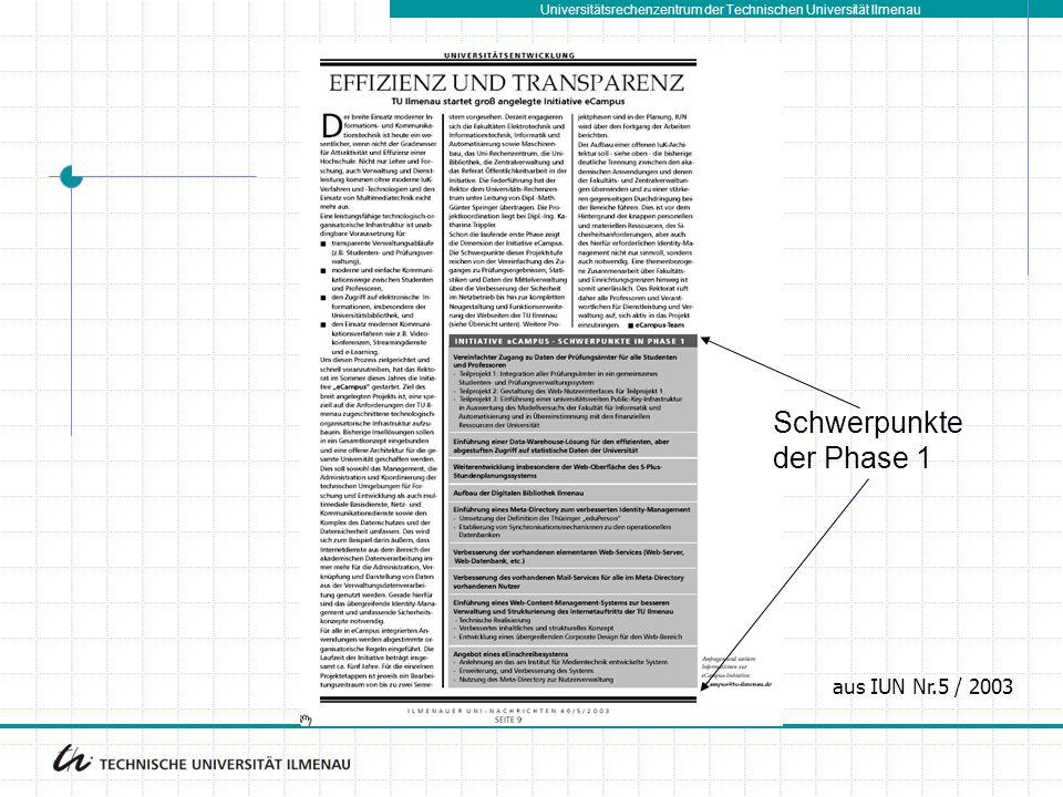 Schwerpunkte der Phase 1 aus IUN Nr.5 / 2003