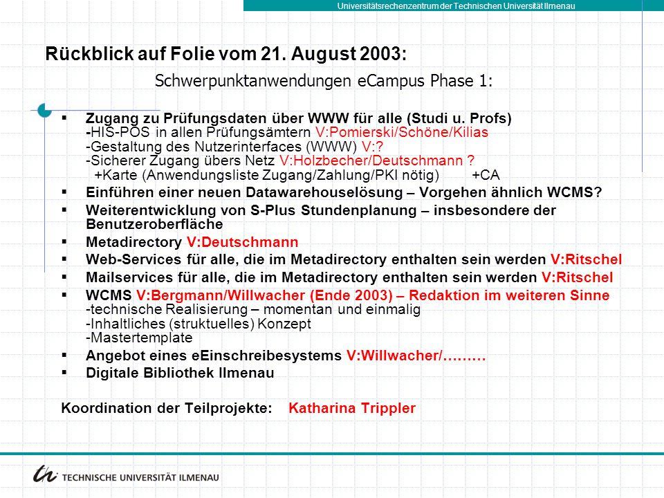 Rückblick auf Folie vom 21. August 2003:
