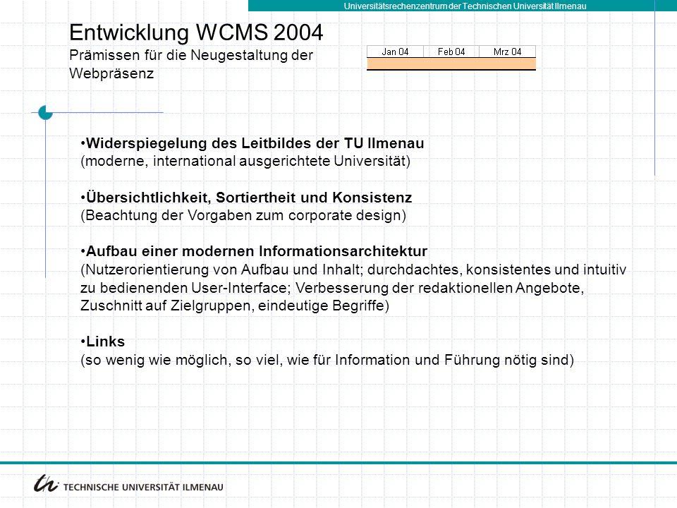 Entwicklung WCMS 2004 Prämissen für die Neugestaltung der Webpräsenz