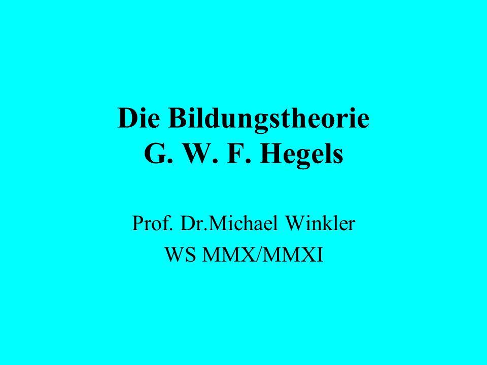 Die Bildungstheorie G. W. F. Hegels