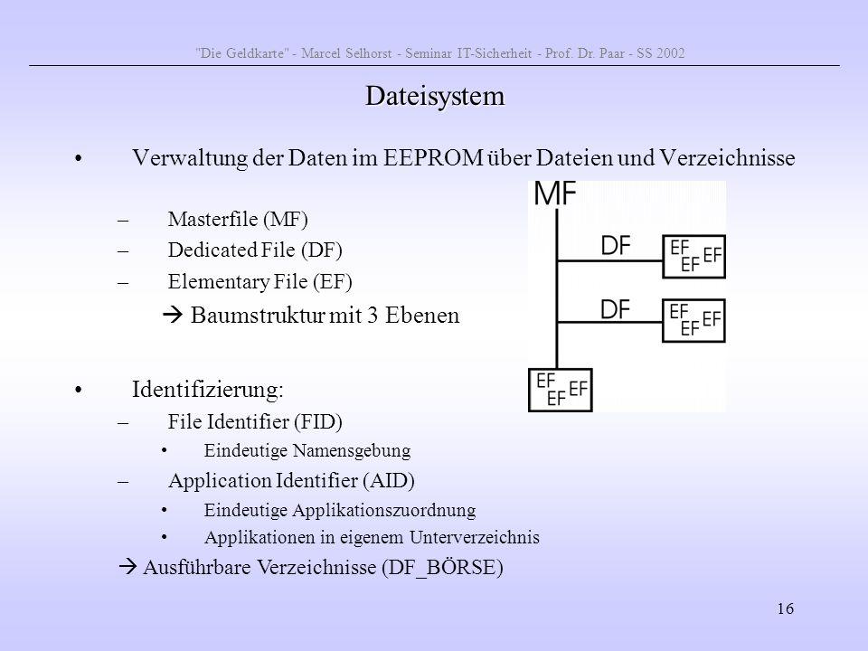 Die Geldkarte - Marcel Selhorst - Seminar IT-Sicherheit - Prof. Dr