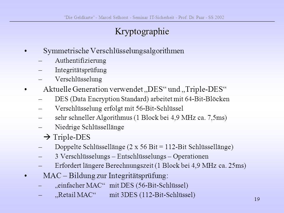 Kryptographie Symmetrische Verschlüsselungsalgorithmen