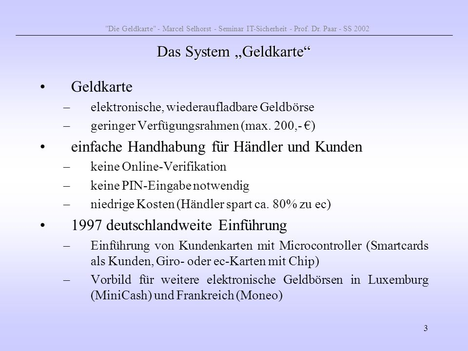 """Das System """"Geldkarte"""