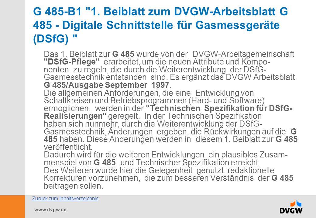 G 485-B1 1. Beiblatt zum DVGW-Arbeitsblatt G 485 - Digitale Schnittstelle für Gasmessgeräte (DSfG)