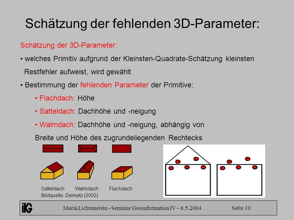 Schätzung der fehlenden 3D-Parameter: