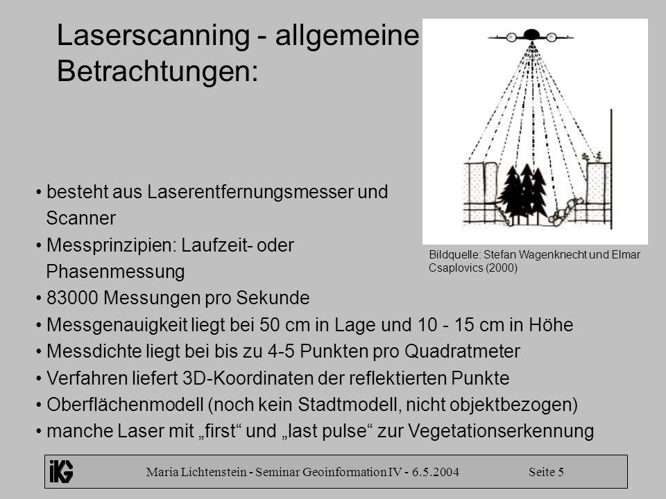 Laserscanning - allgemeine Betrachtungen: