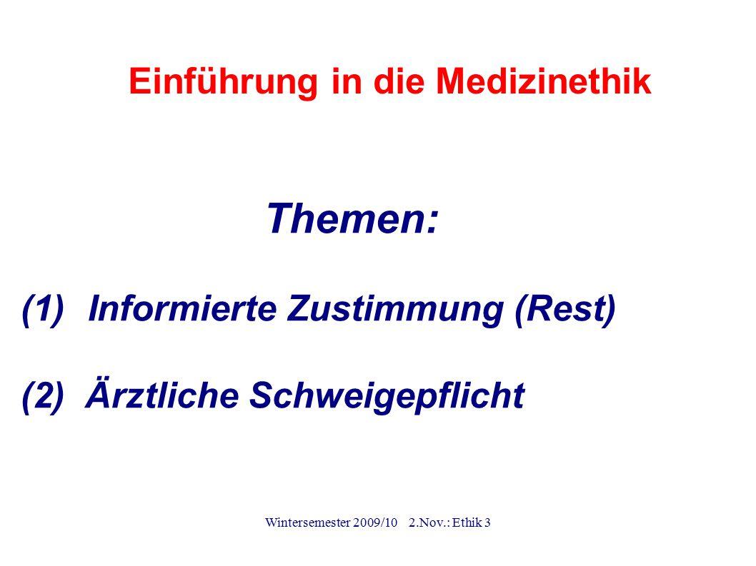 Einführung in die Medizinethik