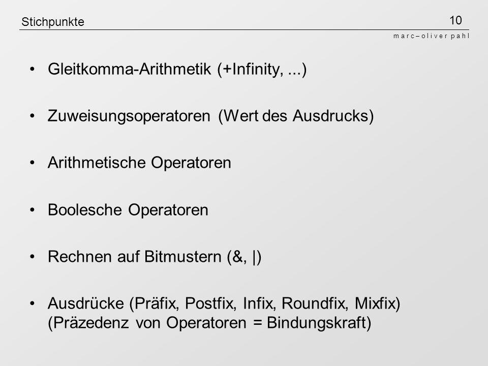 Gleitkomma-Arithmetik (+Infinity, ...)