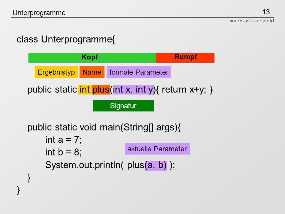 class Unterprogramme{