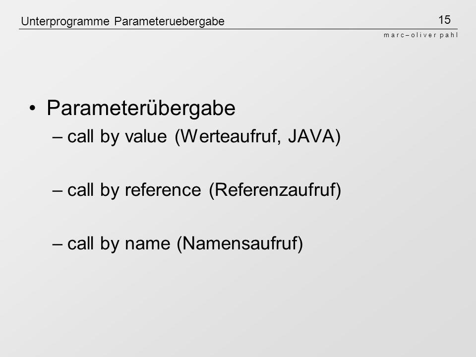 Unterprogramme Parameteruebergabe