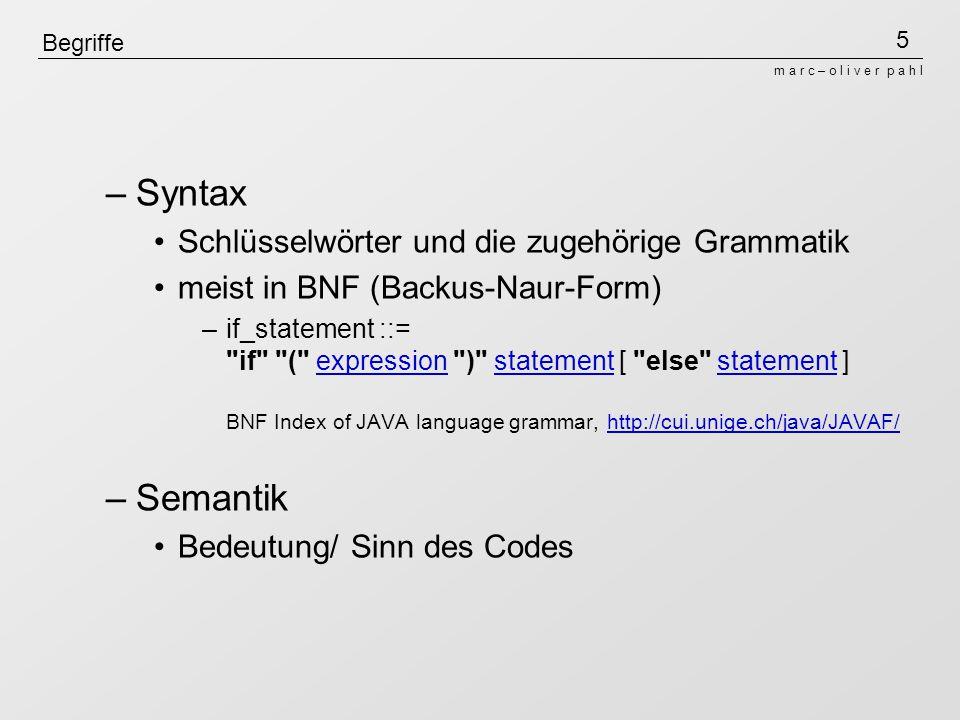 Syntax Semantik Schlüsselwörter und die zugehörige Grammatik