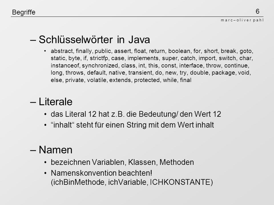 Schlüsselwörter in Java