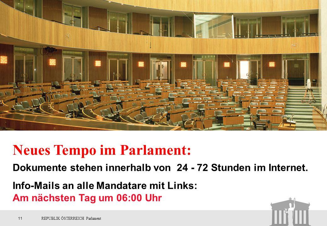 Neues Tempo im Parlament: