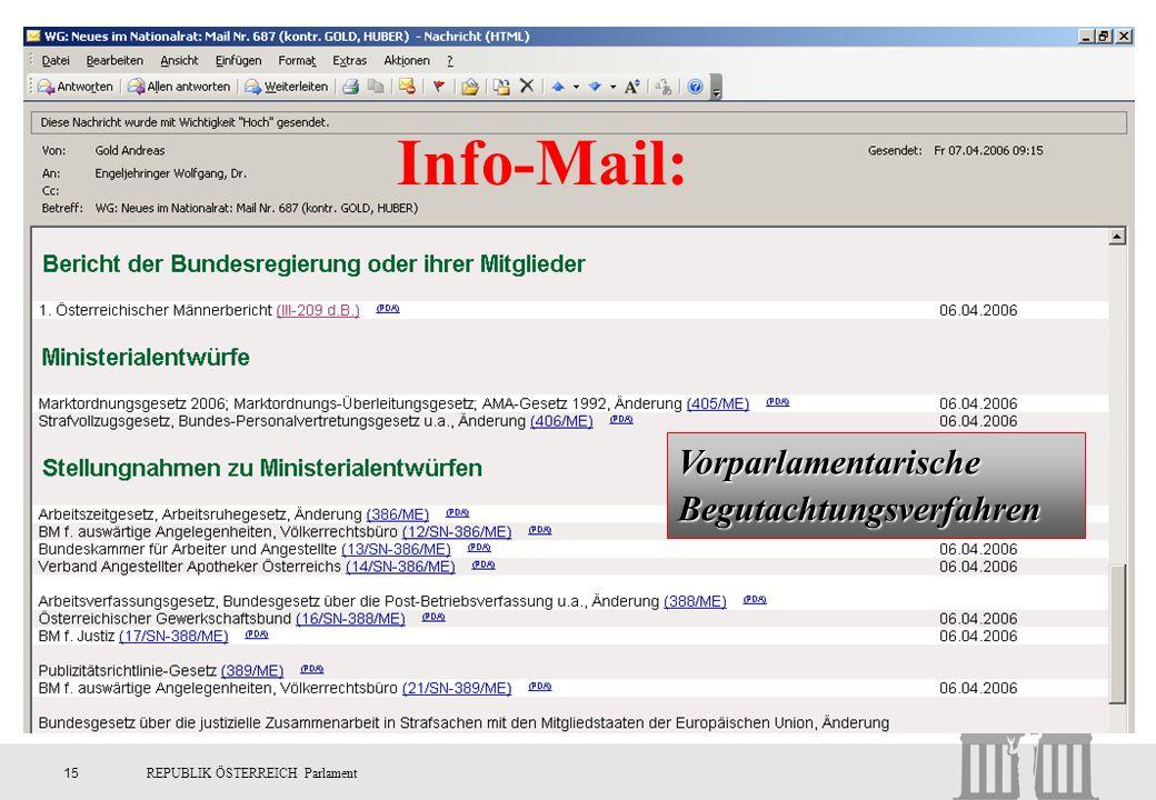 Info-Mail: Vorparlamentarische Begutachtungsverfahren