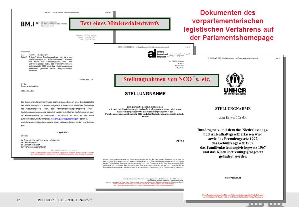 Text eines Ministerialentwurfs Stellungnahmen von NCO´s, etc.