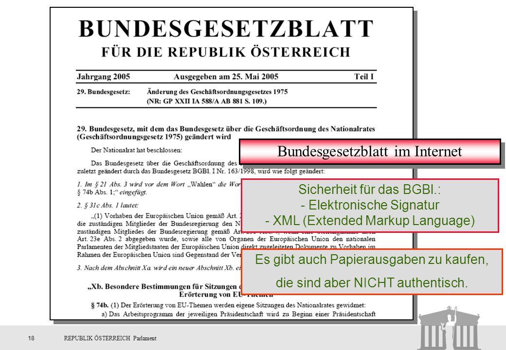 Bundesgesetzblatt im Internet