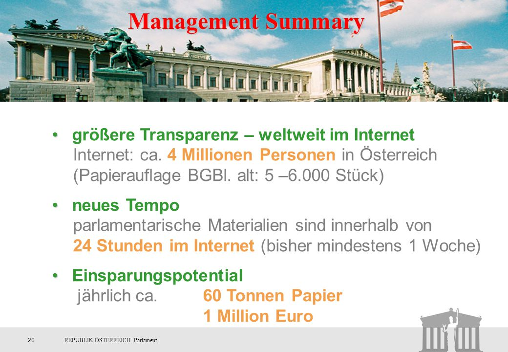 Management Summary größere Transparenz – weltweit im Internet