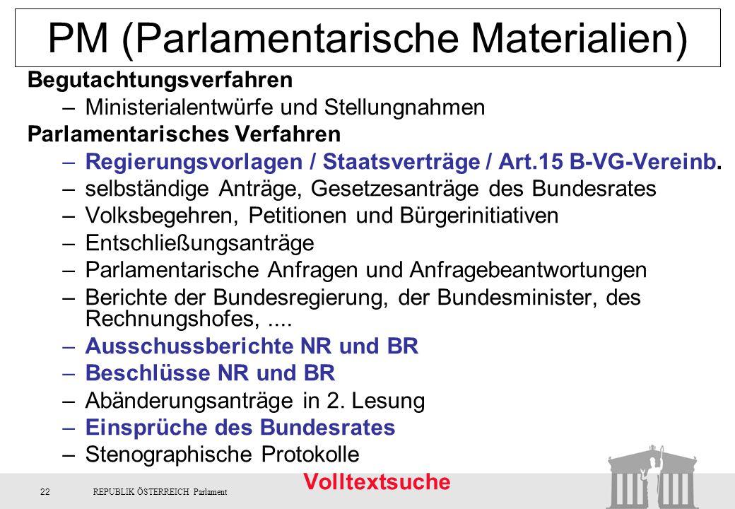 PM (Parlamentarische Materialien)