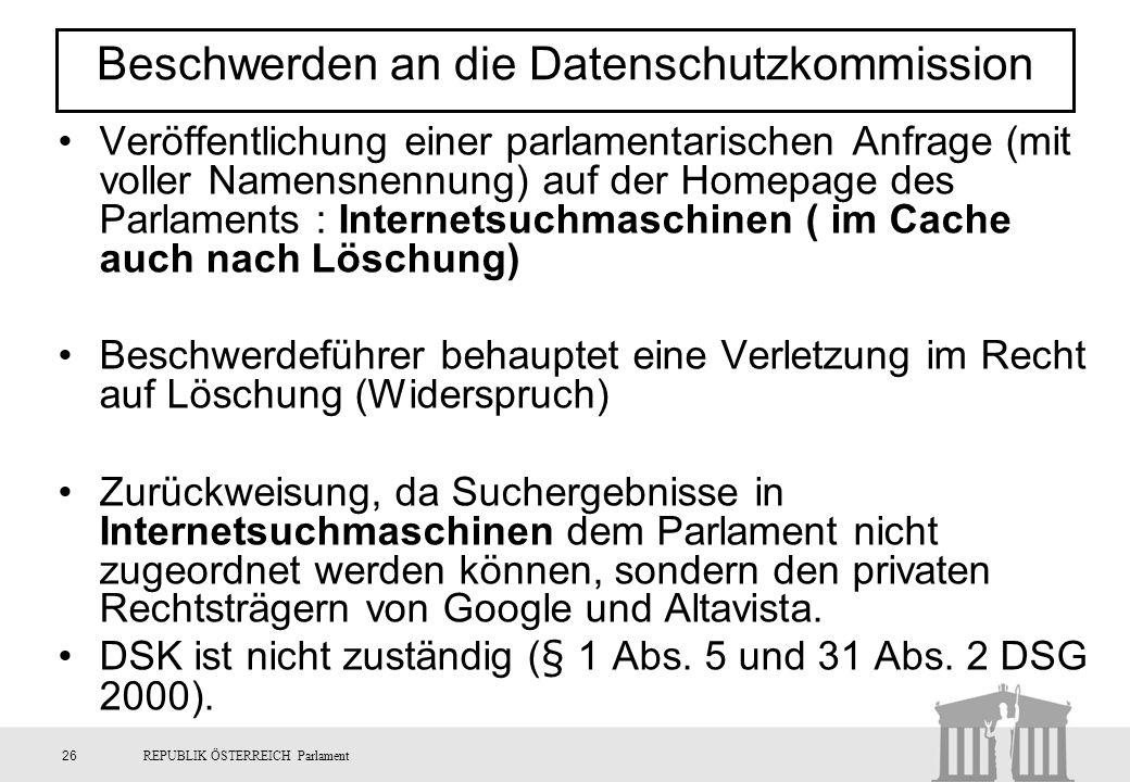 Beschwerden an die Datenschutzkommission