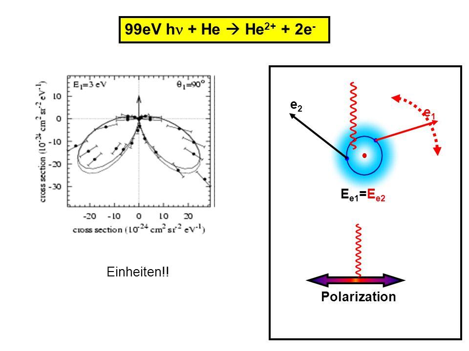 99eV h + He  He2+ + 2e- e2 Ee1=Ee2 e1 Polarization Einheiten!!