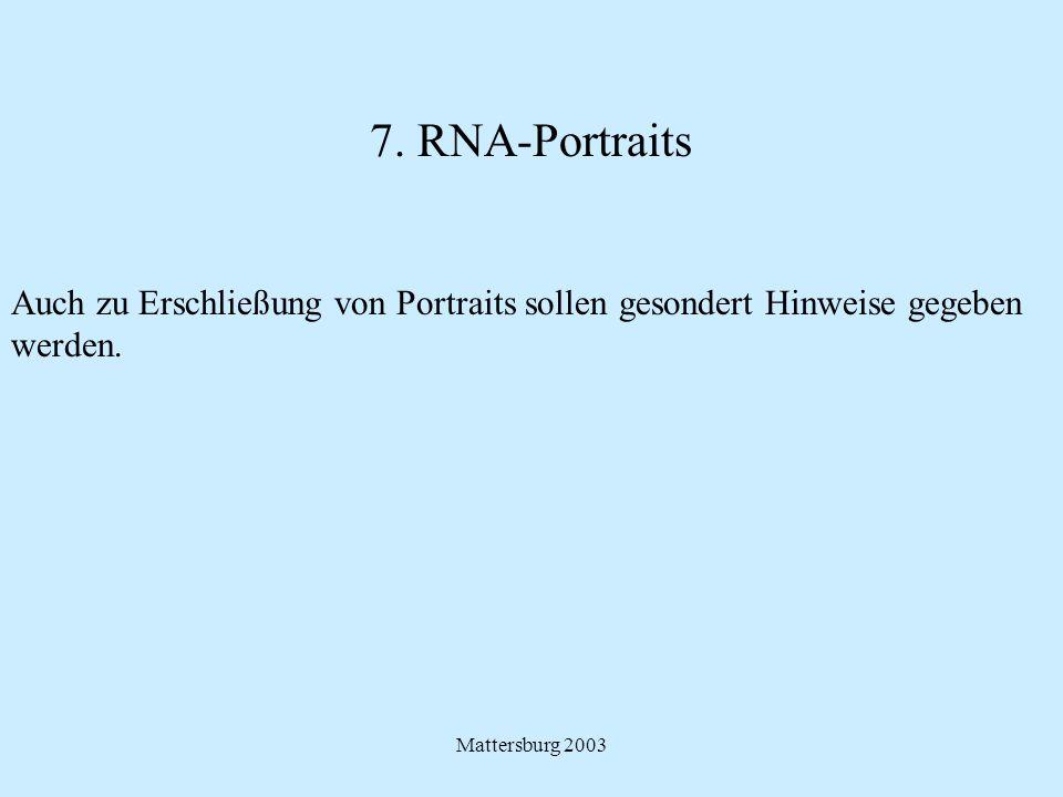 7. RNA-Portraits Auch zu Erschließung von Portraits sollen gesondert Hinweise gegeben.
