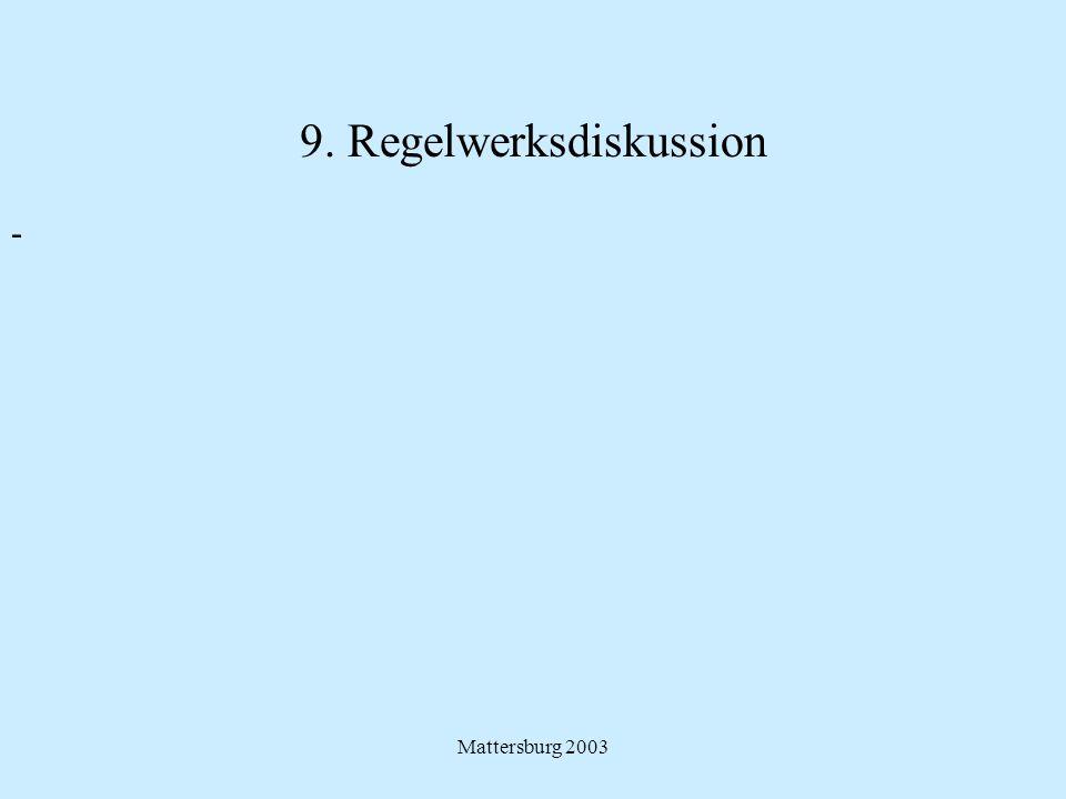 9. Regelwerksdiskussion
