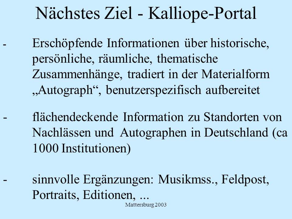 Nächstes Ziel - Kalliope-Portal