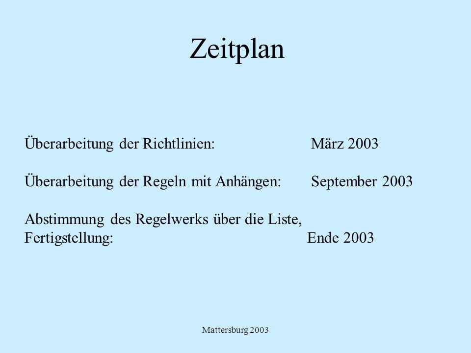 Zeitplan Überarbeitung der Richtlinien: März 2003